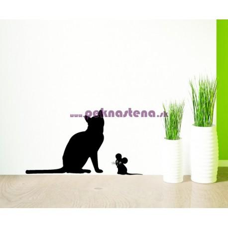 Nálepka na stenu - Mačka s myšou