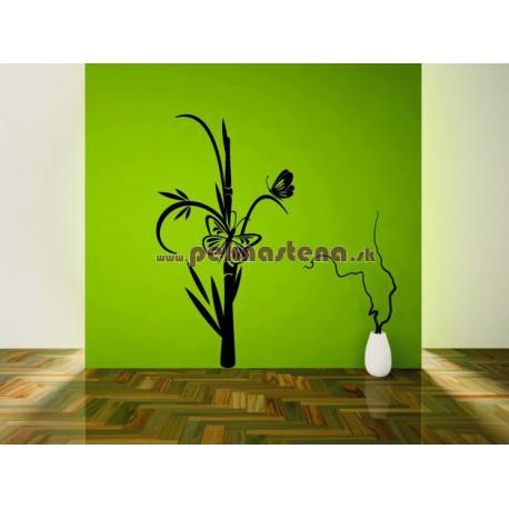 Nálepka na stenu - Bambus s motýľom 2