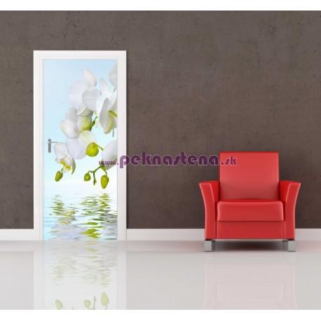 Nálepka na dvere - Biela orchidea
