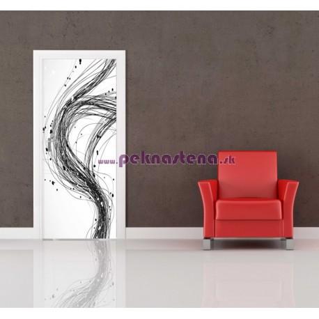Nálepka na dvere - Čierna abstrakcia