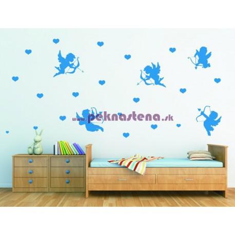 Nálepka na stenu - Anjelikovia so srdiečkami