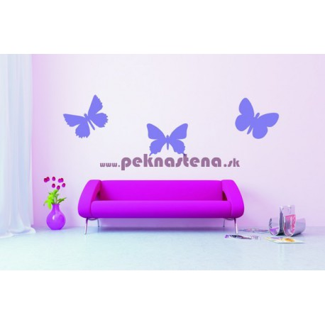 Nálepka na stenu - Motýli -  set 3 kusov