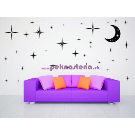 Nálepka na stenu - Mesiac a hviezdy 2