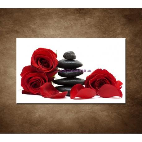 Obraz na stenu - Čierne kamene a červené ruže