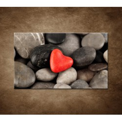 Obraz - Červené srdce na kameňoch
