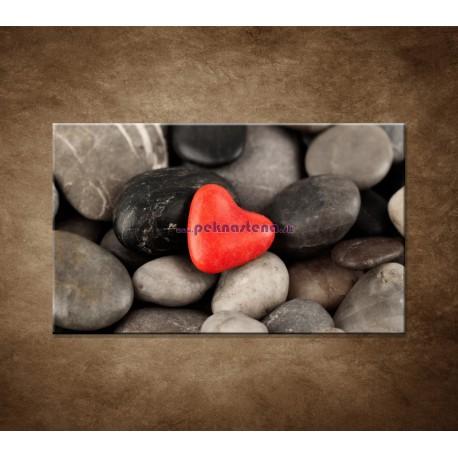 Obrazy na stenu - Červené srdce na kameňoch