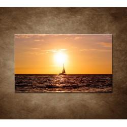 Obrazy na stenu - Západ slnka s jachtou