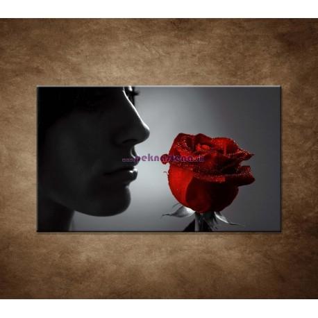 Obrazy na stenu - Žena s ružou