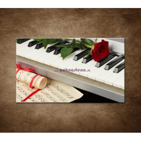 Obrazy na stenu - Piano a ruža