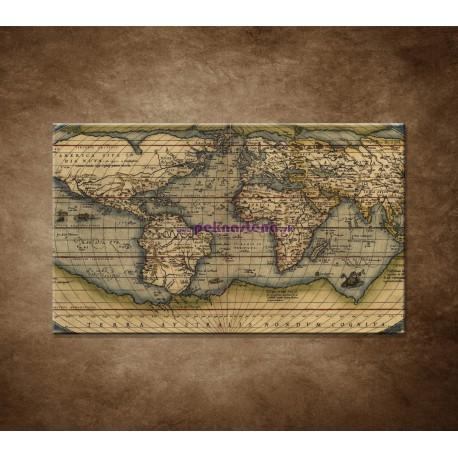 Obrazy na stenu - Antická mapa sveta r. 1570