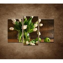 Obrazy na stenu - Tulipány vo váze - zátišie - 3dielny 75x50cm