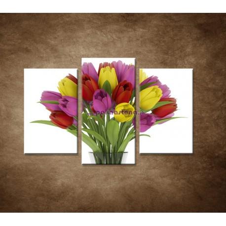 Obrazy na stenu - Tulipány vo váze  - 3dielny 75x50cm