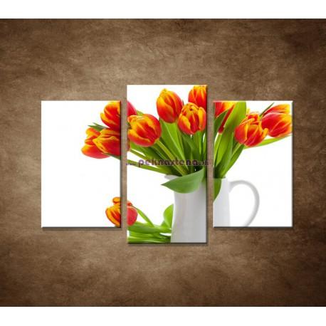Obrazy na stenu - Červené tulipány - 3dielny 75x50cm