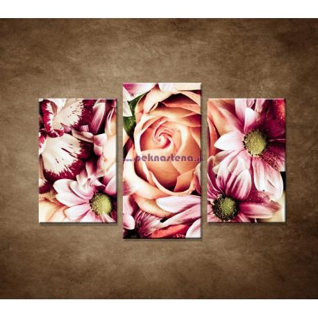 Obrazy na stenu - Kytica kvetov - 3dielny 75x50cm