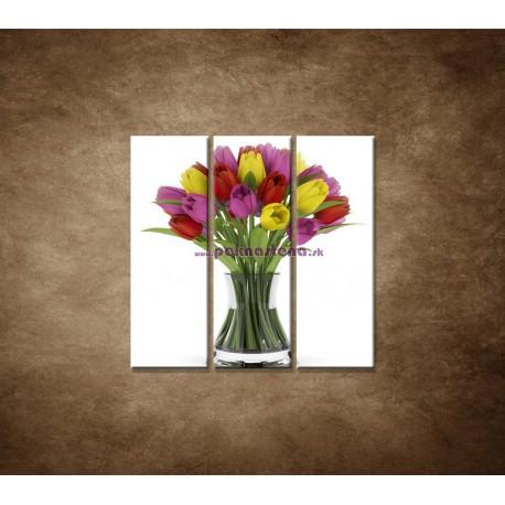 Obrazy na stenu - Tulipány vo váze - 3dielny 90x90cm