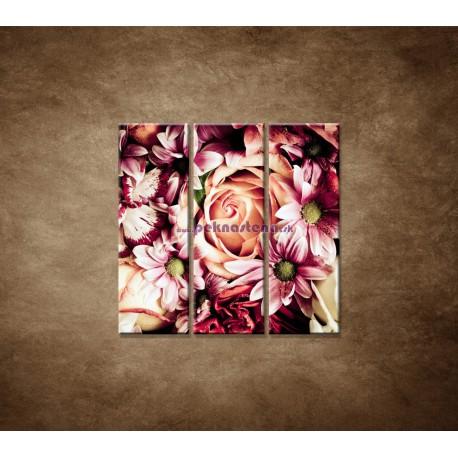 Obrazy na stenu - Kytica kvetov - 3dielny 90x90cm