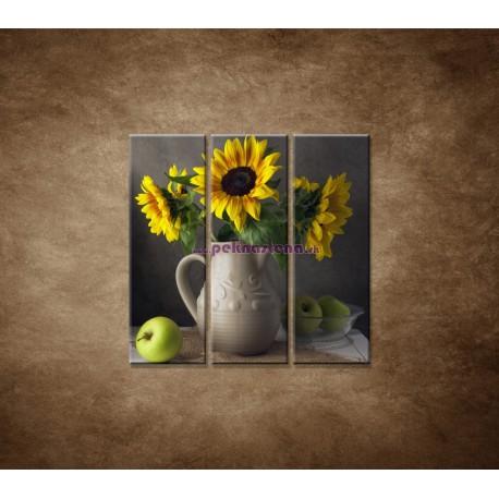 Obrazy na stenu - Slnečnica vo váze - 3dielny 90x90cm