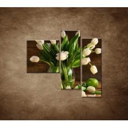 Obrazy na stenu - Tulipány vo váze - zátišie - 3dielny 110x90cm