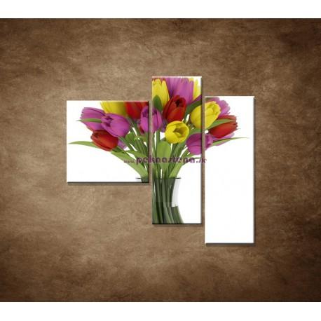 Obrazy na stenu - Tulipány vo váze - 3dielny 110x90cm