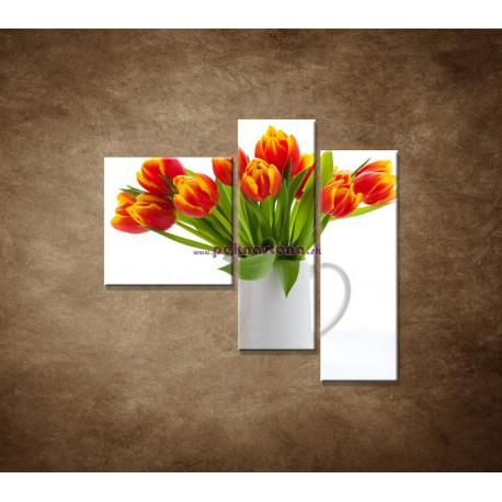 Obrazy na stenu - Červené tulipány - 3dielny 110x90cm