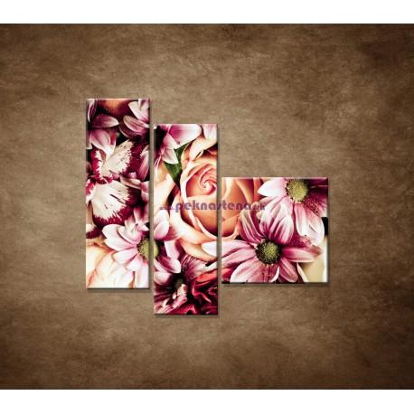 Obrazy na stenu - Kytica kvetov - 3dielny 110x90cm