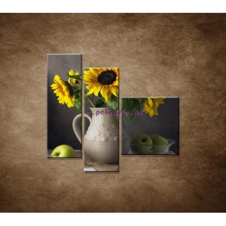 Obrazy na stenu - Slnečnica vo váze - 3dielny 110x90cm