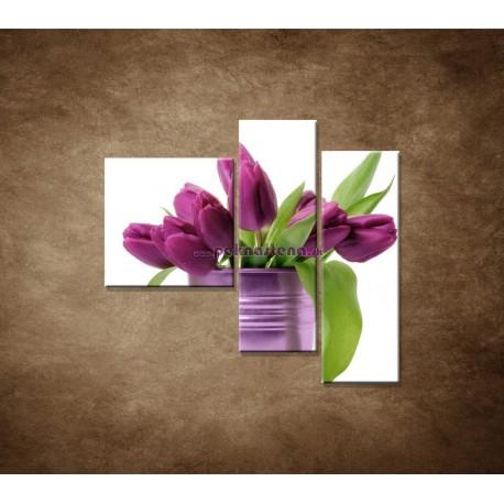 Obrazy na stenu - Svieže tulipány - 3dielny 110x90cm