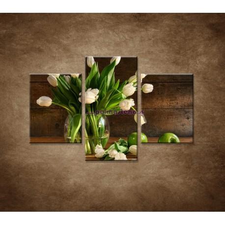 Obrazy na stenu - Tulipány vo váze - zátišie - 3dielny 90x60cm