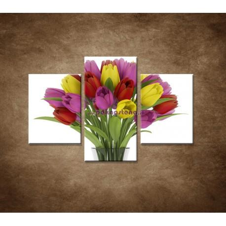 Obrazy na stenu - Tulipány vo váze - 3dielny 90x60cm