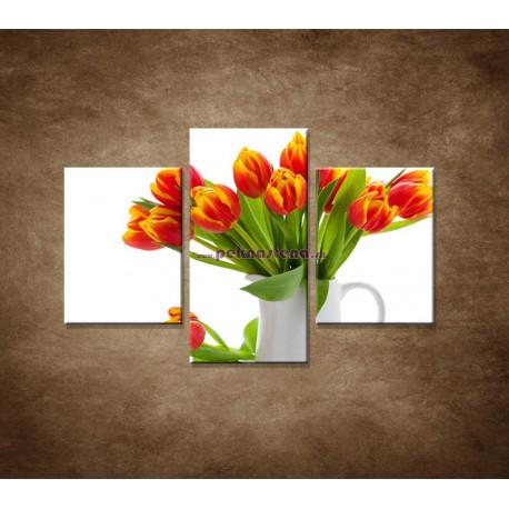 Obrazy na stenu - Červené tulipány - 3dielny 90x60cm