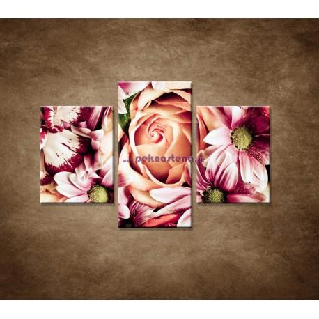 Obrazy na stenu - Kytica kvetov - 3dielny 90x60cm