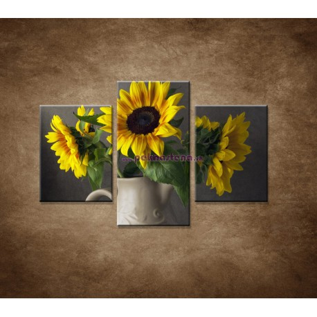 Obrazy na stenu - Slnečnica vo váze - 3dielny 90x60cm