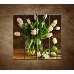 Obrazy na stenu - Tulipány vo váze - zátišie - 4dielny 120x120cm