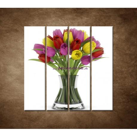 Obrazy na stenu - Tulipány vo váze - 4dielny 120x120cm