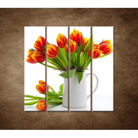 Obrazy na stenu - Červené tulipány - 4dielny 120x120cm