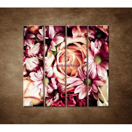 Obrazy na stenu - Kytica kvetov - 4dielny 120x120cm