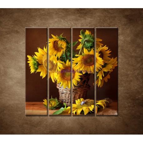 Obrazy na stenu - Slnečnice - 4dielny 120x120cm