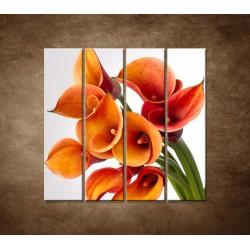 Oranžové kaly - 4dielny 120x120cm