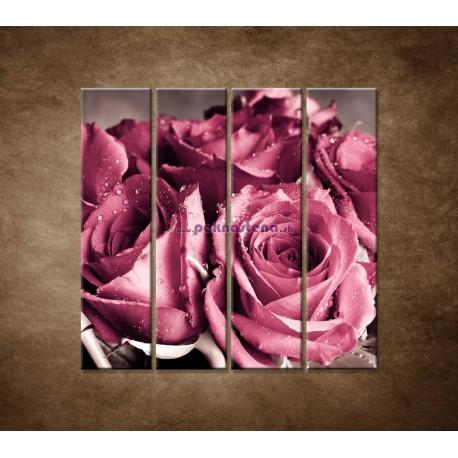 Obrazy na stenu - Kytica ruží - 4dielny 120x120cm