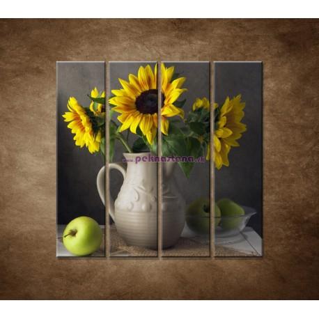 Obrazy na stenu - Slnečnica vo váze - 4dielny 120x120cm
