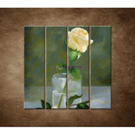 Obrazy na stenu - Maľovaná ruža - 4dielny 120x120cm