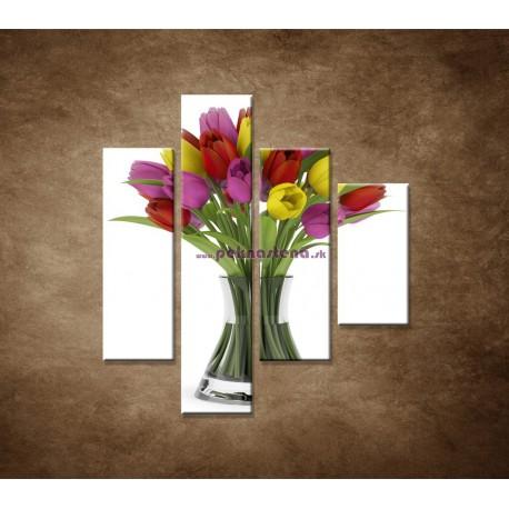Obrazy na stenu - Tulipány vo váze - 4dielny 80x90cm
