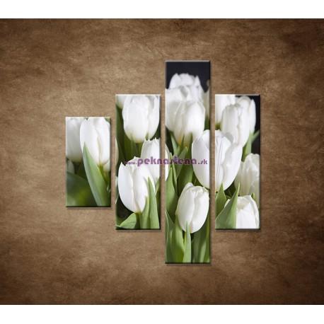 Obrazy na stenu - Biele tulipány - 4dielny 80x90cm