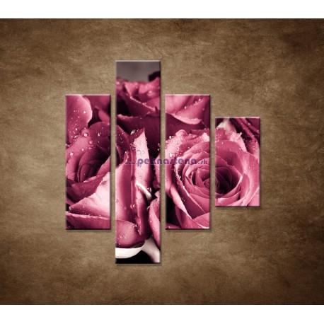 Obrazy na stenu - Kytica ruží - 4dielny 80x90cm