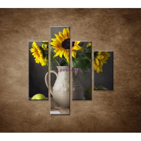 Obrazy na stenu - Slnečnica vo váze - 4dielny 80x90cm