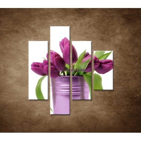 Obrazy na stenu - Svieže tulipány - 4dielny 80x90cm