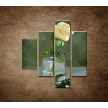 Obrazy na stenu - Maľovaná ruža - 4dielny 80x90cm