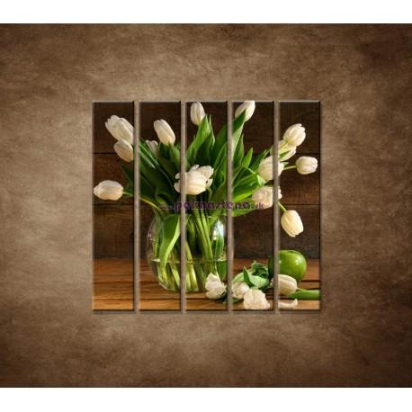 Obrazy na stenu - Tulipány vo váze - zátišie - 5dielny 100x100cm