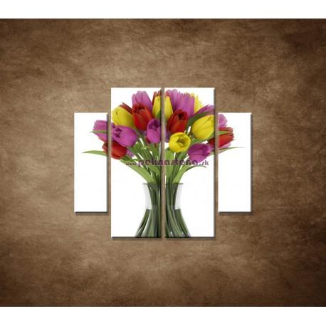 Obrazy na stenu - Tulipány vo váze - 4dielny 100x90cm