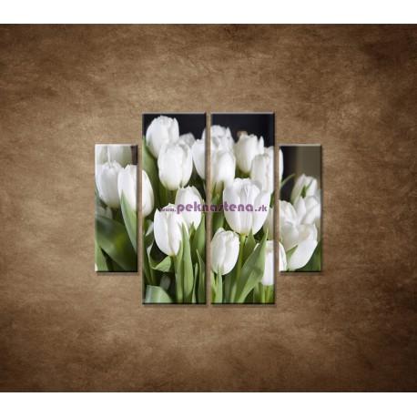 Obrazy na stenu - Biele tulipány - 4dielny 100x90cm
